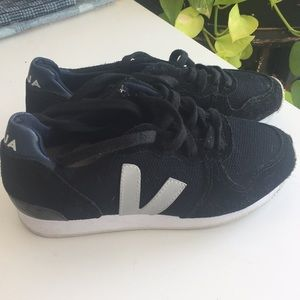 New Veja black suede and leather sneakers
